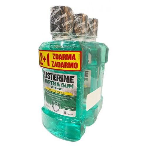 Ústna voda LISTERINE TEETH & GUM DEFENCE 2+1 zadarmo