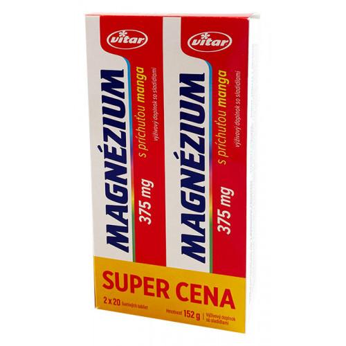 Magnézium 375 mg 2x 20 šumivých tabliet
